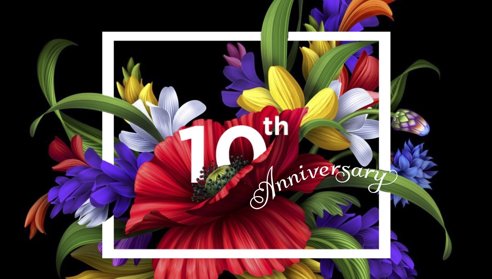 a floral graphic for the art in bloom 10th anniversary