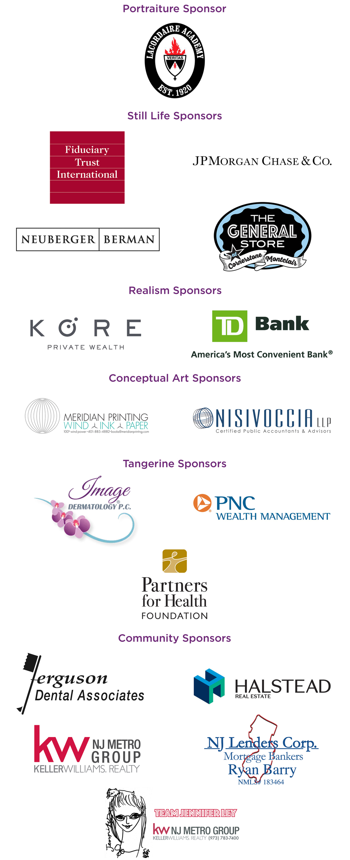 Te art party sponsor logos. These sponsors are the same as those listed in text on this page.