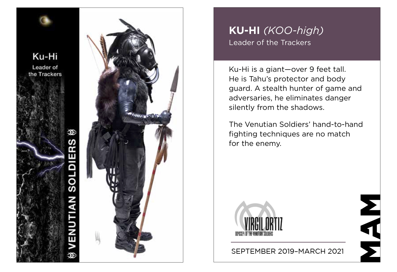 an information card about one of Virgil Ortiz's Venutian Soldiers.