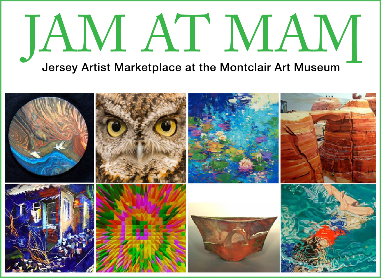 JAM at MAM logotype above a group of artworks for sale