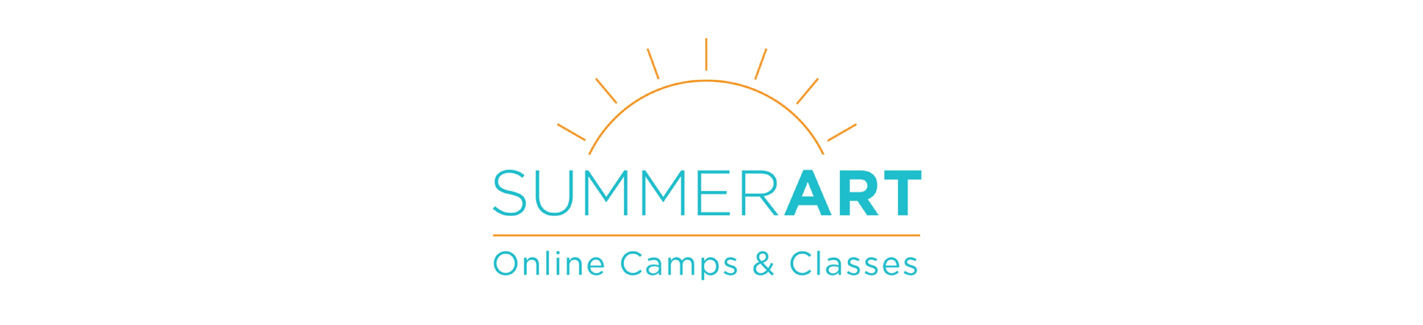 I'm an image! A white, wide rectangle with the SummerART online 2020 logo in the center. The Logo says summerART online camps and classes and has a sun outline above it.