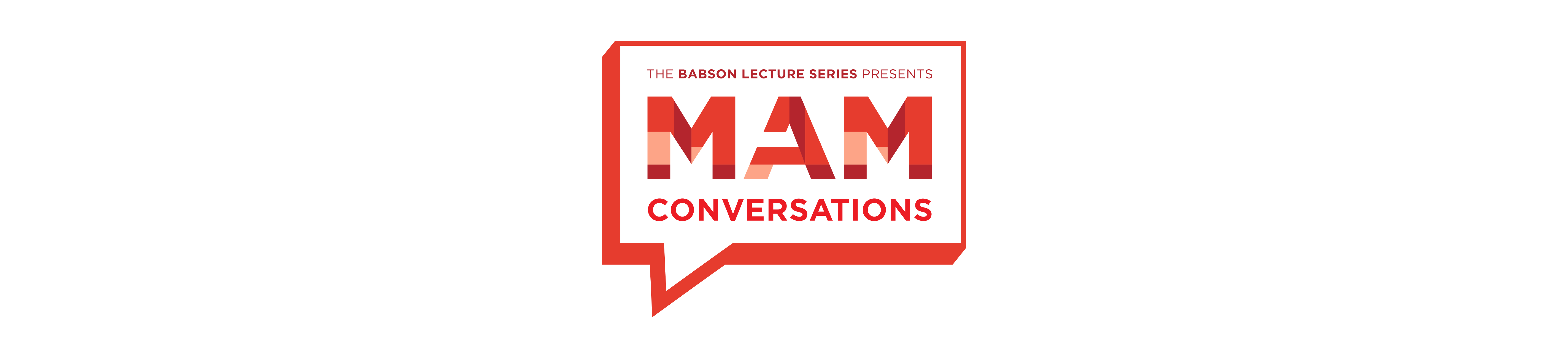 I'm an image! MAM conversations logo featuring a speech bubble on a white background
