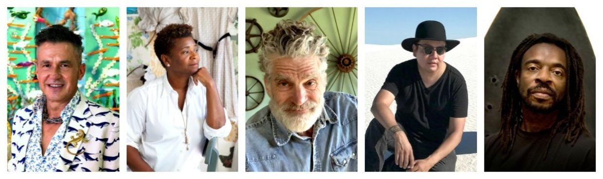 a collage of the five confirmed artists in MAM's speaker series.