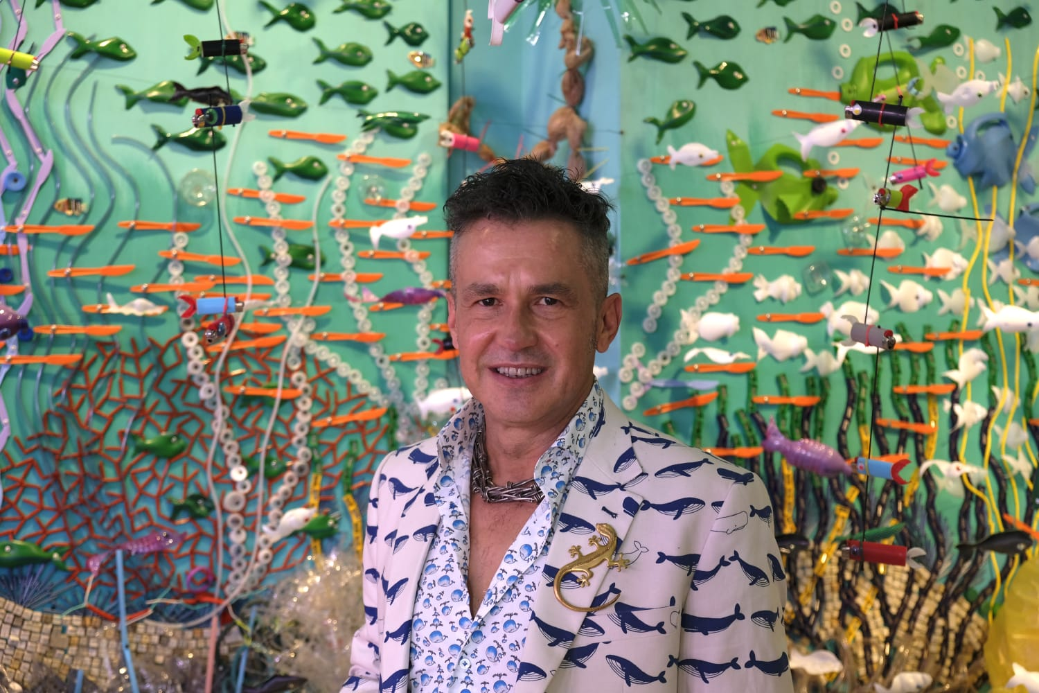 I'm an image! Federico Uribe in front of one of his works: an installation of Plastic Coral Reef.