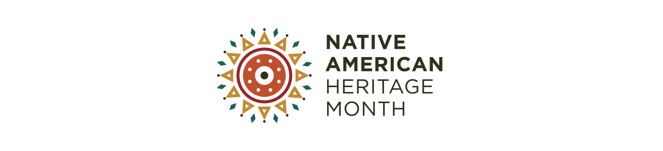 Page banner with circular patterned logo inspired by native american art and the title native american heritage month.