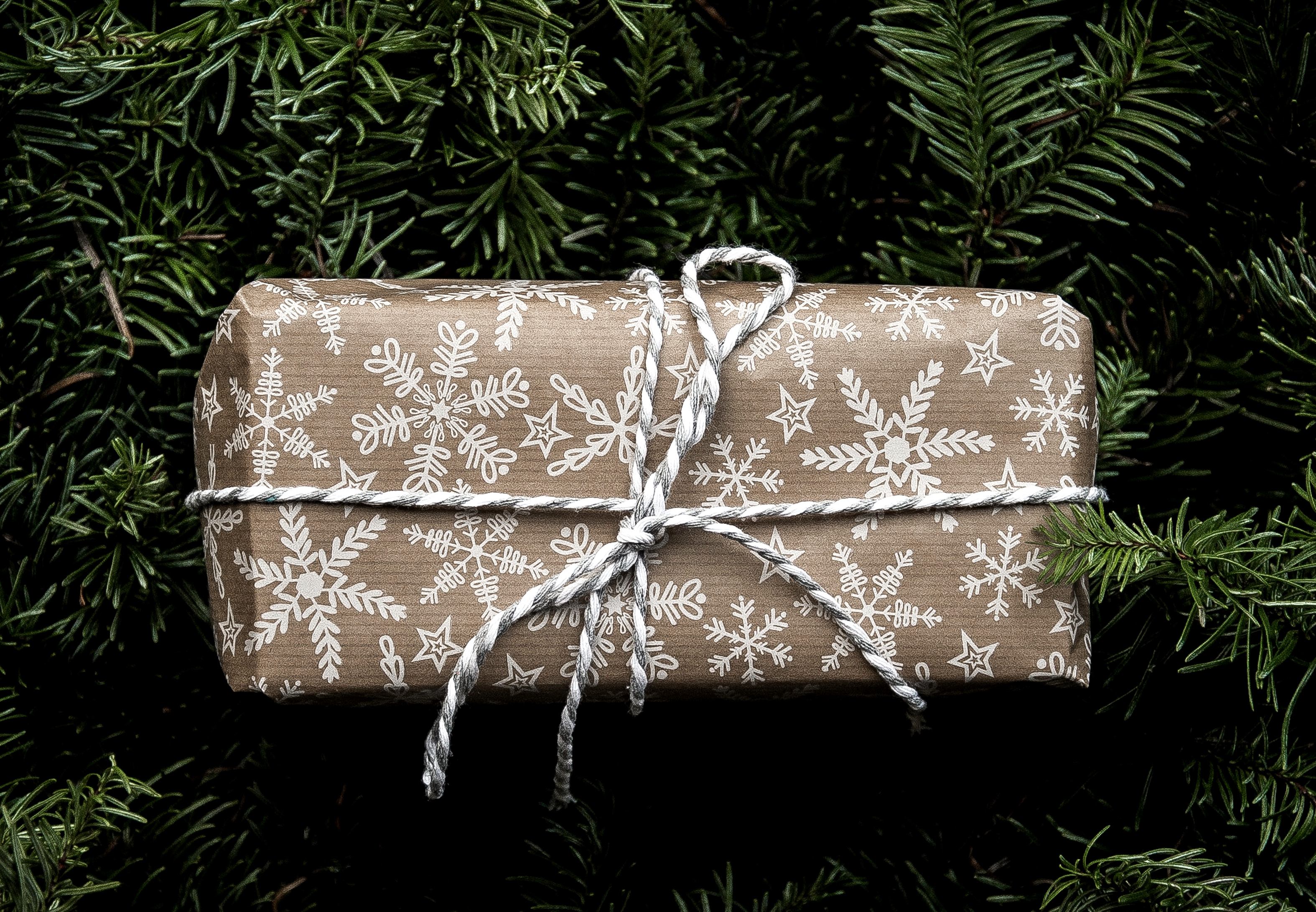 example of snowflake printed holiday wrapping paper