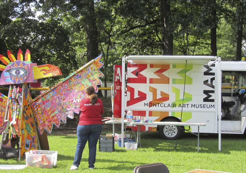 art truck and a sculpture created by community