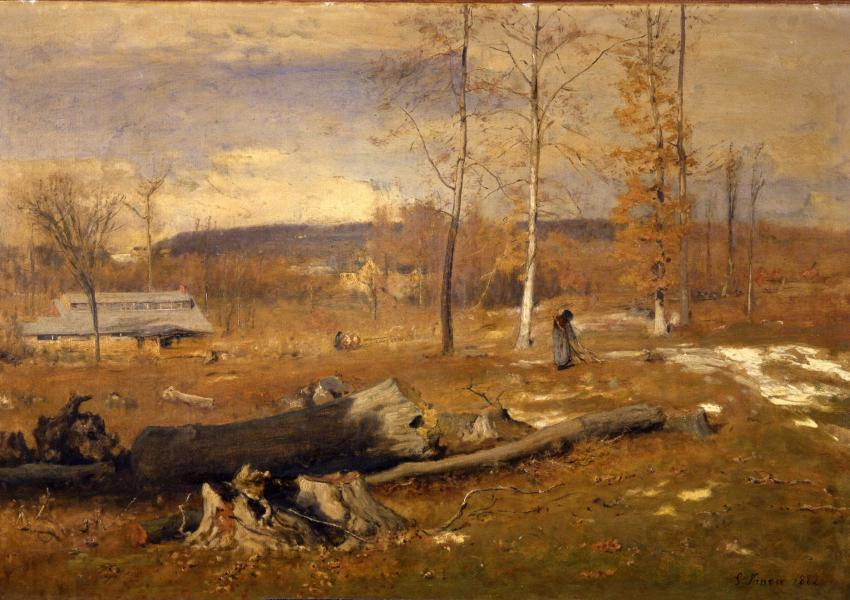 oil painting titles winter morning in Montclair by George Inness. brown and orange tones of bare trees