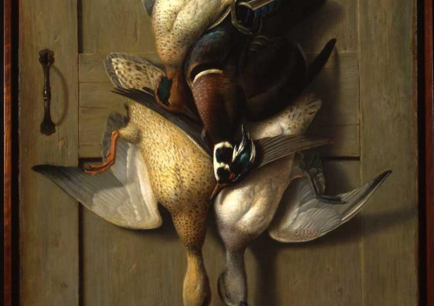 Image of Goodwin's painting of three hunted birds hanging on a nail in a door.