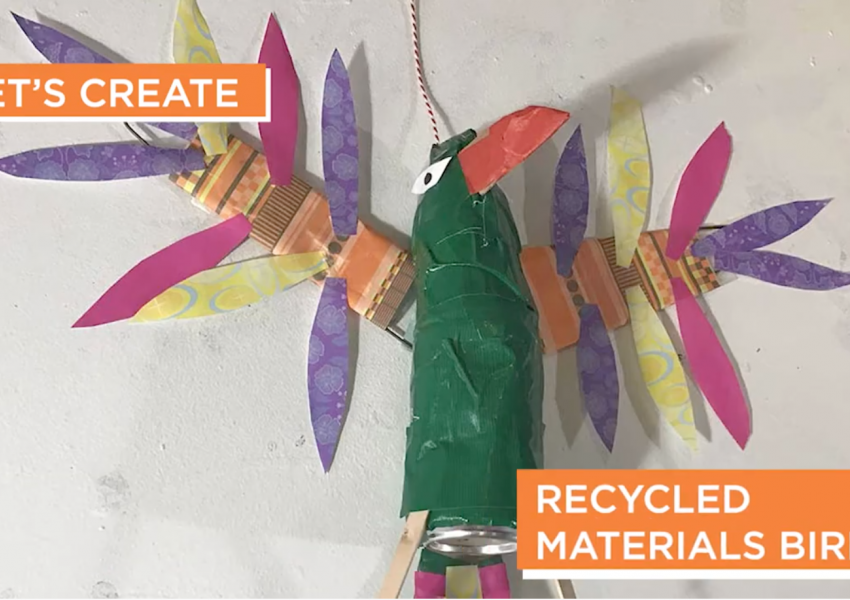 a finished example of the recycled material bird in Dan fenelon's cyber studio art activity