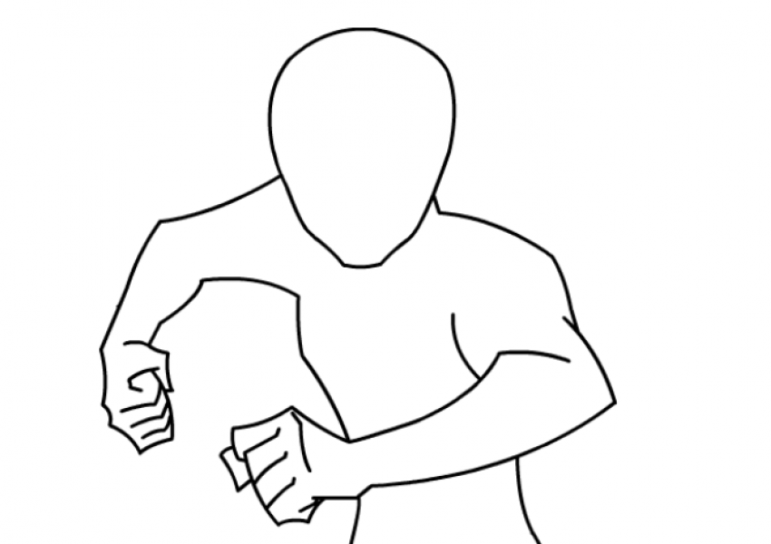 an outline of a human running toward the viewer. It is a template for the family Heroes Among Us activity