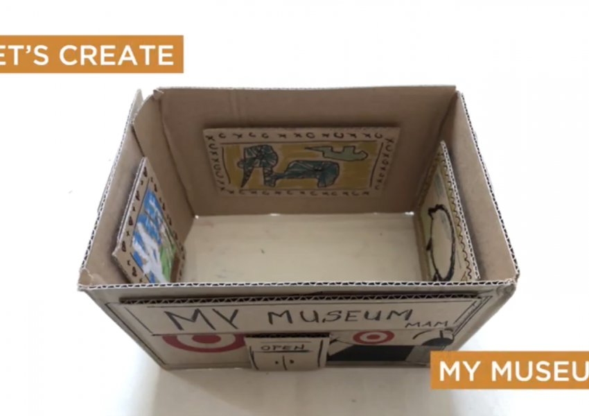 A still frame from the cyber studio instructional video with text: let's create my museum.