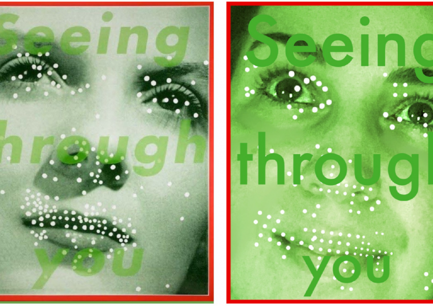 "two images next to each other: Barbara Kruger's Seeing Through you on the left and a recreation for the ""Between Art And Quarantine challenge"" on the right"