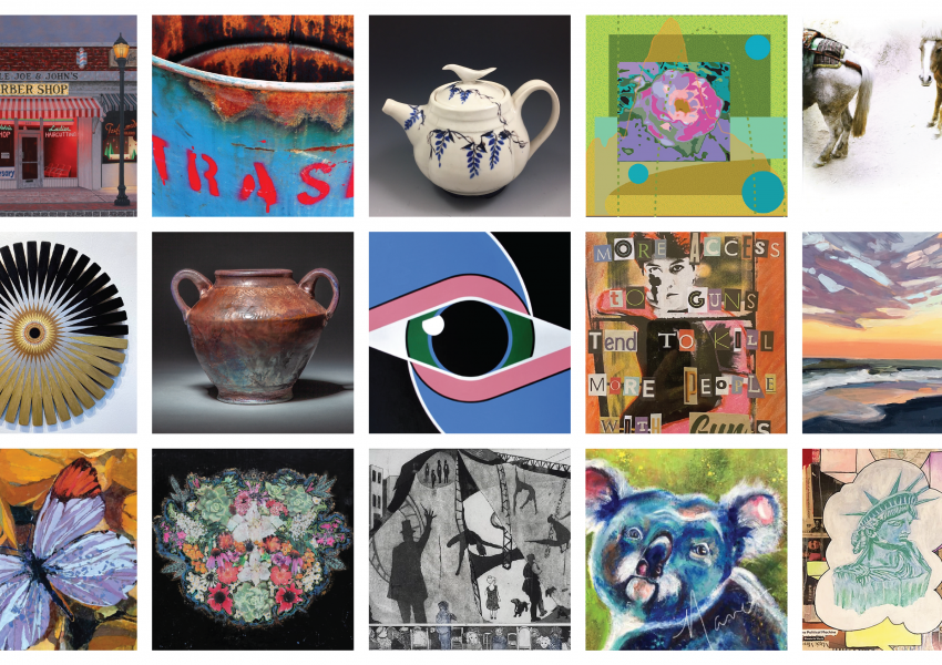 A collage of artworks for sale in the Jersey Artist Market