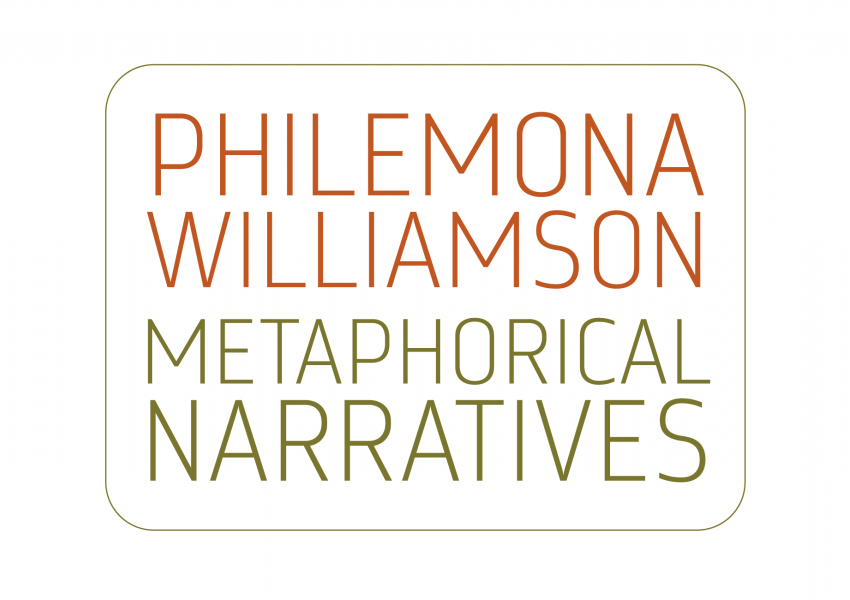 "I'm an image! A logotype design for ""Philemona Williamson: Metaphorical Narratives"" on a white background."