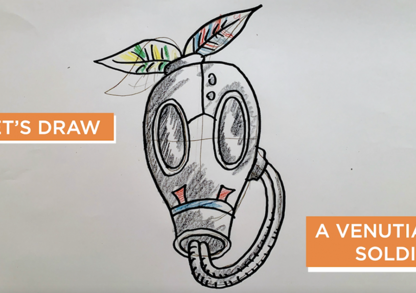 "A screen shot from the cyber studio video that says ""Let's draw a venutian soldier."""