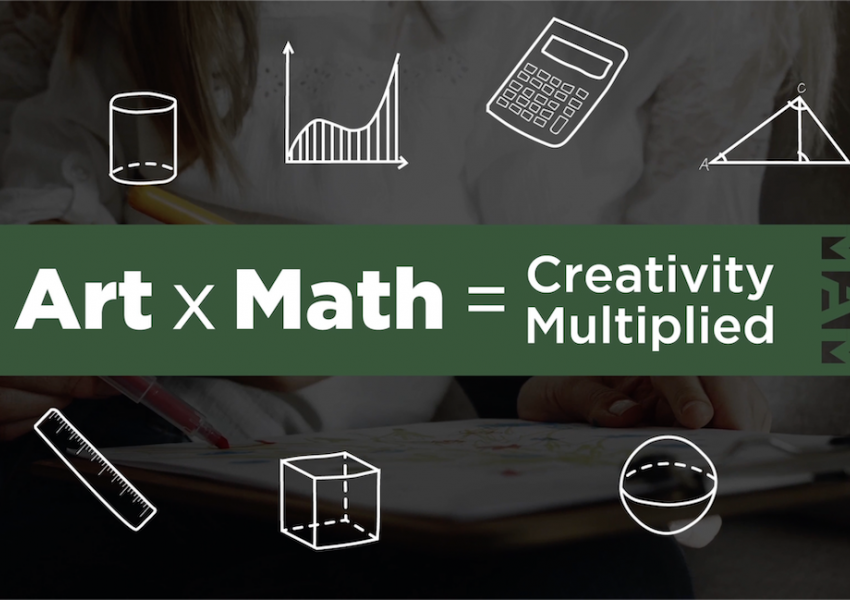 Screen shot of the title card from the art x math equals creativity multiplied video.