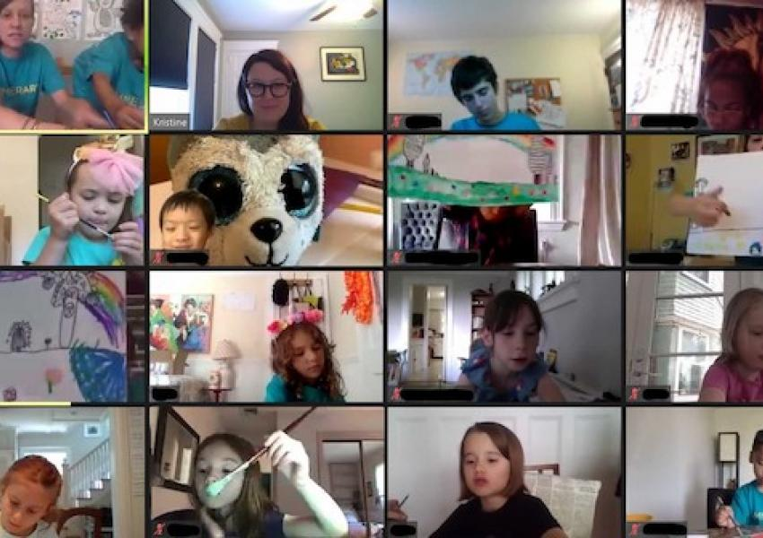 A screen shot of students participating in a zoom activity.
