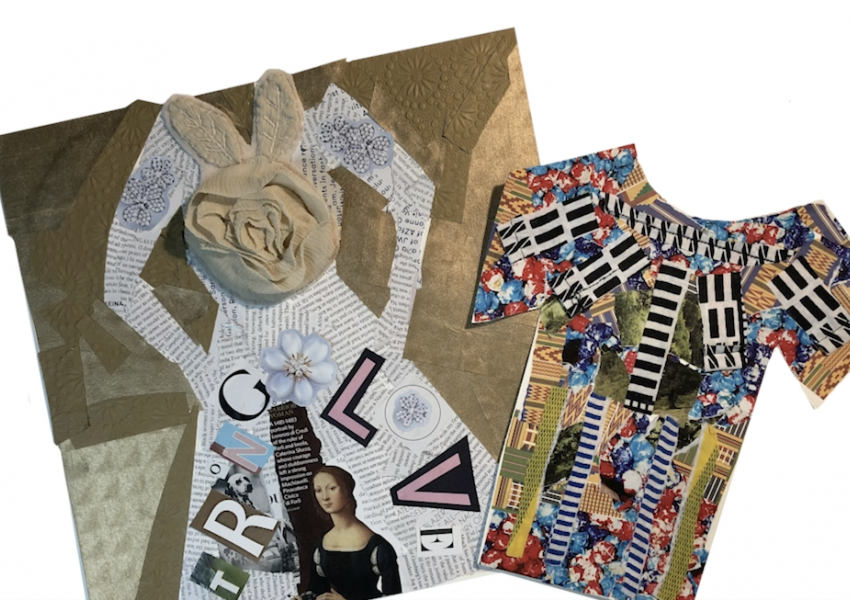 A screen shot from the cyber studio video that shows the finished dress and shirt collage examples.