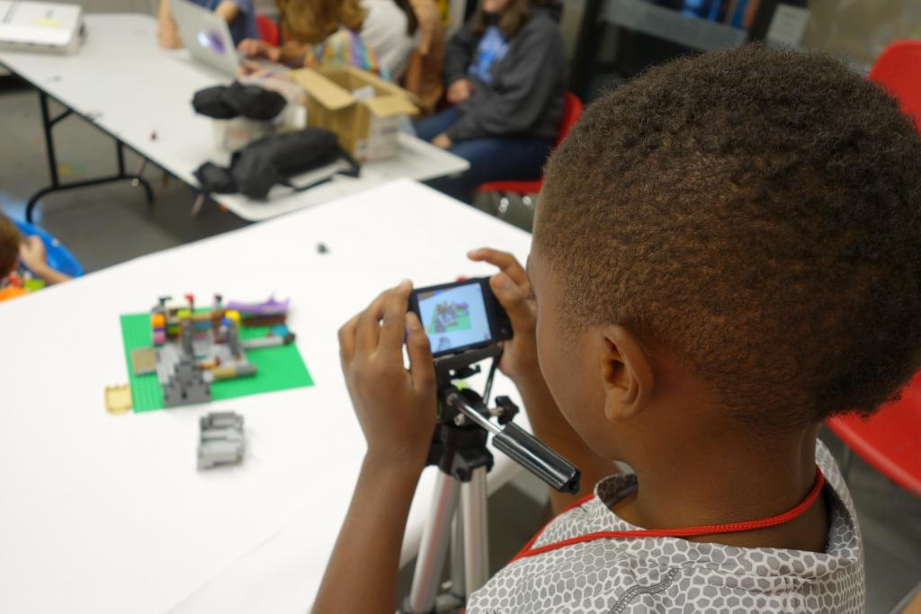 young boy in LEGO animation class