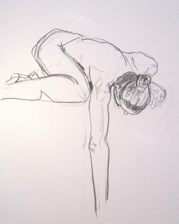 A pencil drawing, done from a live model, of a person crouching down and reaching for something.
