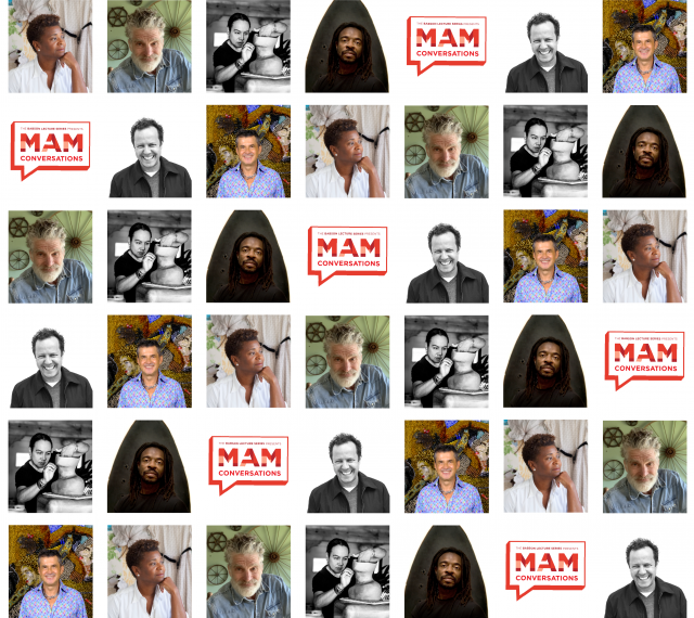 Collage of headshots of artist guests in the MAM Conversations series.