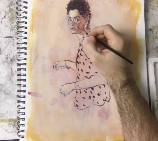 I'm an image! Julian tejera painting a portrait. A still taken from his instagram account.