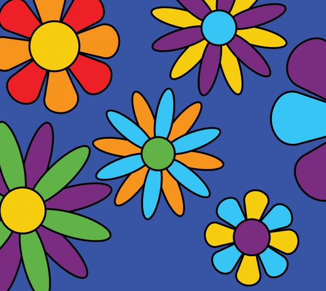 Rainbow flower illustrations on a purple background