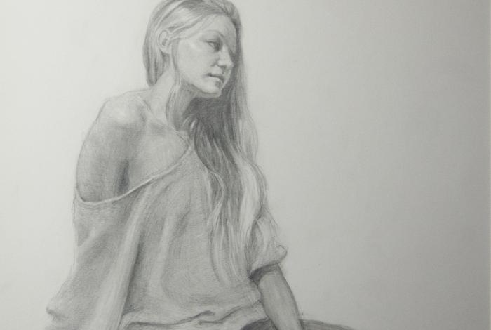 A pencil drawing of a woman leaning on a desk.