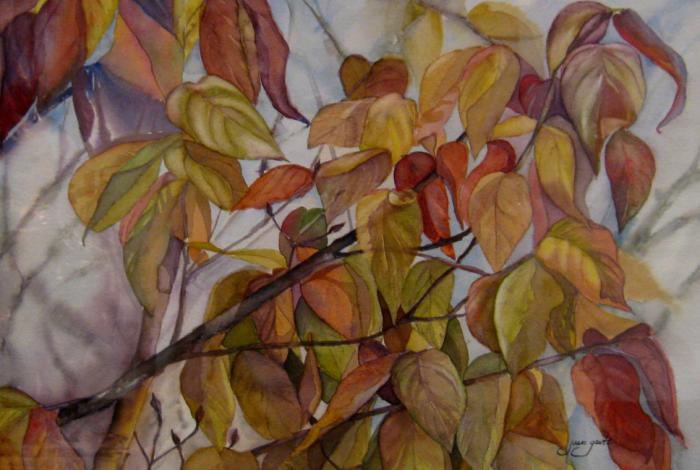 A watercolor painting of leaves.