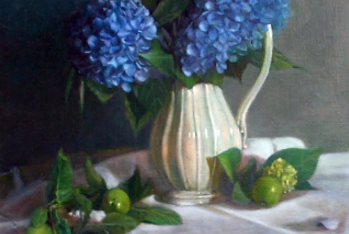 a still life painting by louise hafesh of hydrangeas in a porcelain pitcher on a table surrounded by freshly picked limes.