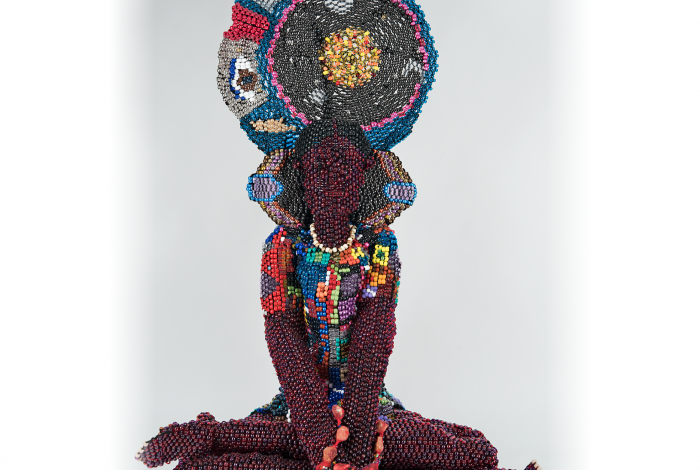 Joyce Scott's work in Montclair Art Museum's permanent collection, Harriet Tubman as Buddha.