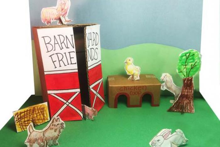 A handmade diorama of a barnyard with animals inspired by the sculptural art of federico Uribe in montclair art museum's galleries. This is an example of what participants can make in the sunday Studio program with Peg.
