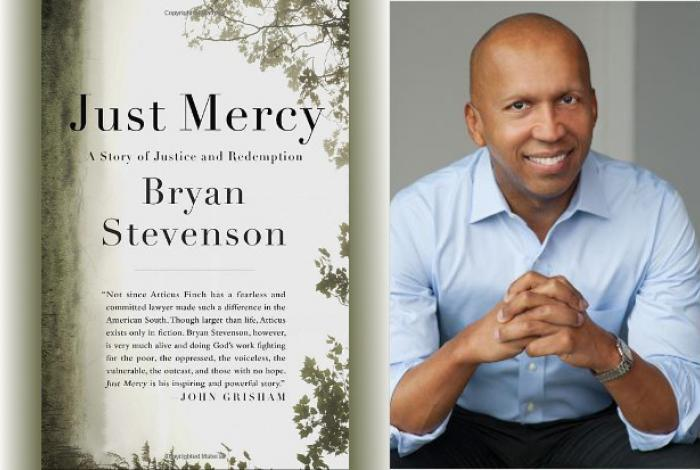 Bryan Stevenson and The front cover of just mercy.