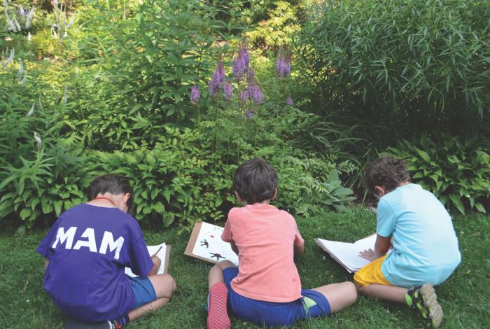 students sketching wildlife in the van vleck garden.